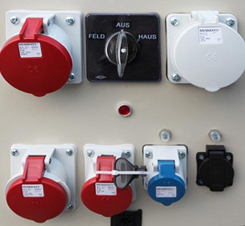 Zapfwellenstromaggregat mit Umschaltung Feld- Haus- Betrieb mit Isolationsüberwachung in Schutzart IP 44